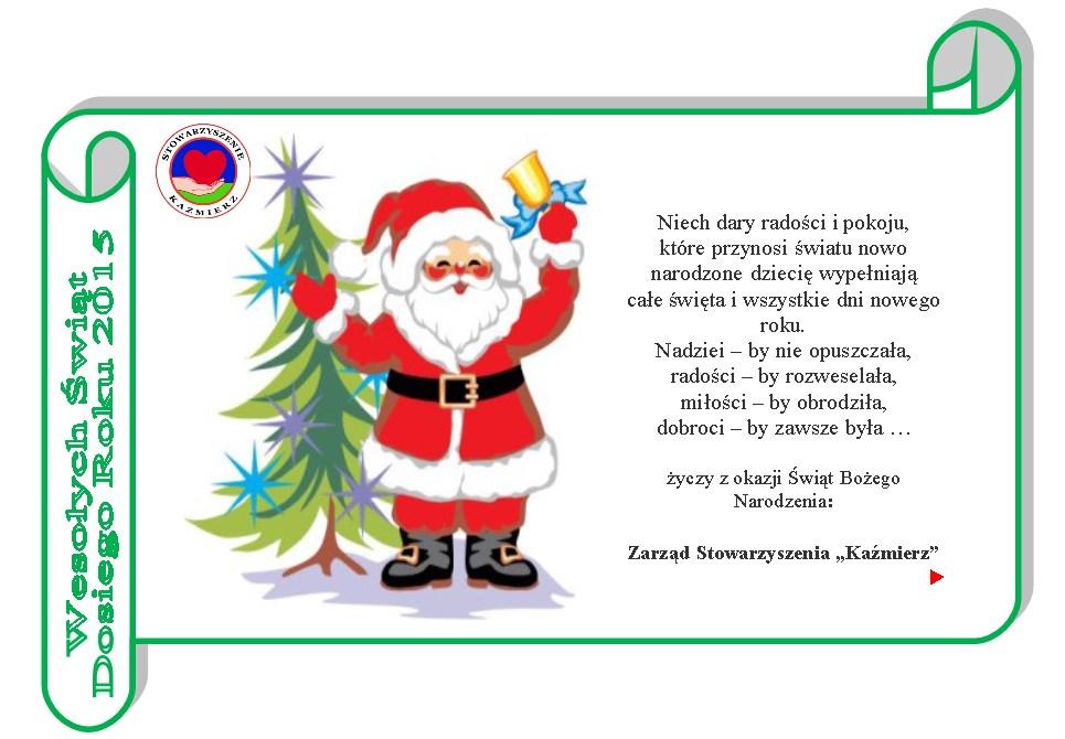 Boże Narodzenie 2014 - życzenia od Stowarzyszenia KAŹMIERZ